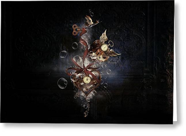 Steampunk Hearts Greeting Card