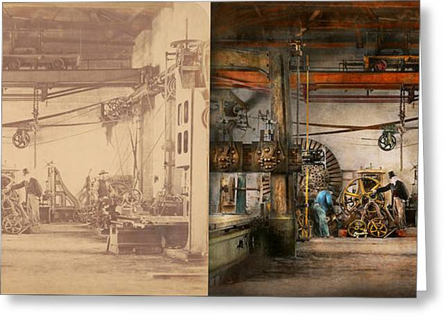 Steampunk - In An Old Clock Shop 1866 - Side By Side Greeting Card by Mike Savad