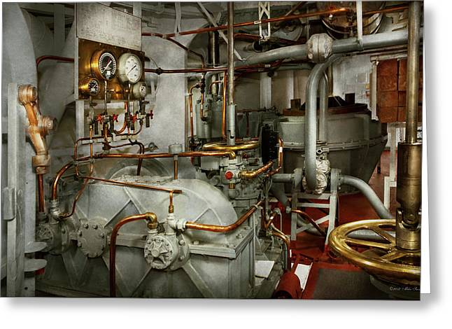 Greeting Card featuring the photograph Steampunk - In The Engine Room by Mike Savad