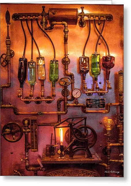 Steampunk Interior Design 3 Liquor Wall Dispenser Atlanta Mancave Bar Art Greeting Card