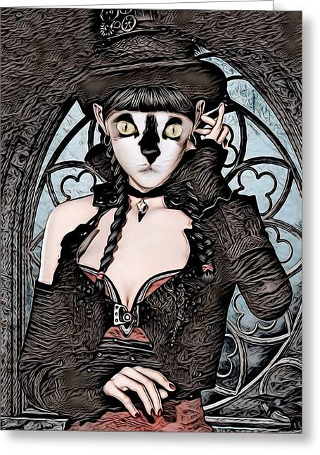 Steampunk Kitty By Artful Oasis Greeting Card