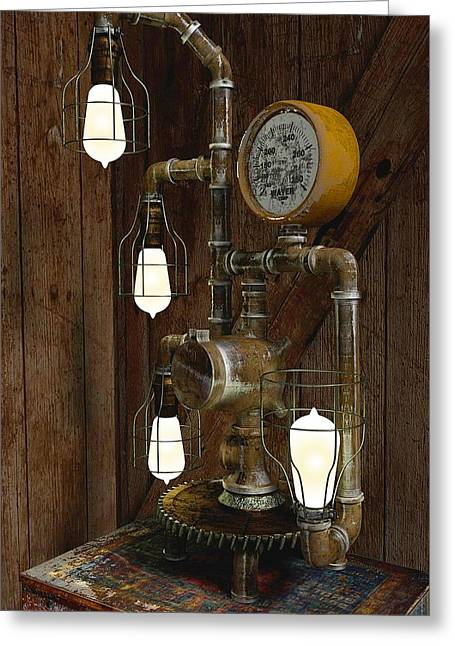 Steampunk Lamp Greeting Card