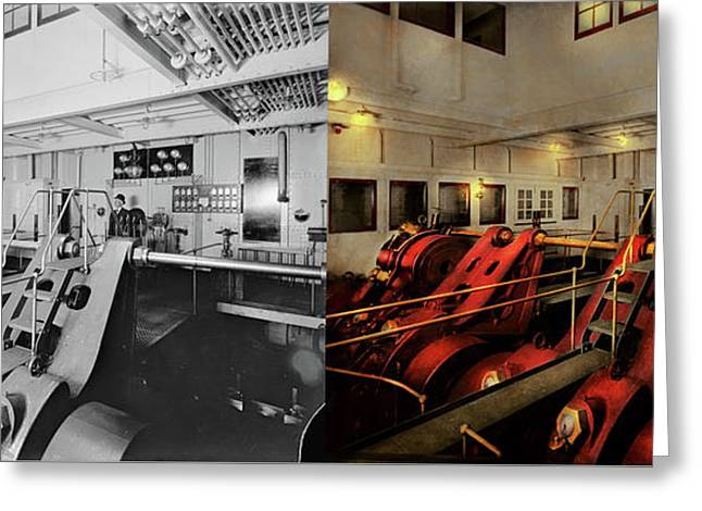 Greeting Card featuring the photograph Steampunk - Man The Controls 1908 - Side By Side by Mike Savad