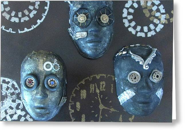 Steampunk Masks Greeting Card
