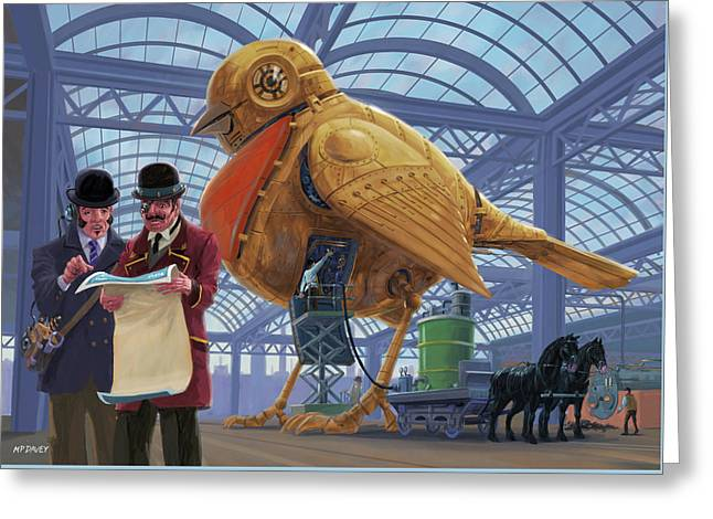 Greeting Card featuring the digital art Steampunk Mechanical Robin Factory by Martin Davey
