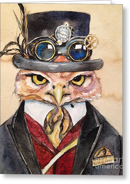 Greeting Card featuring the painting Steampunk Owl Mayor by Christy  Freeman
