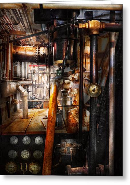 Which Way Greeting Cards - Steampunk - Plumbing - Pipes Greeting Card by Mike Savad