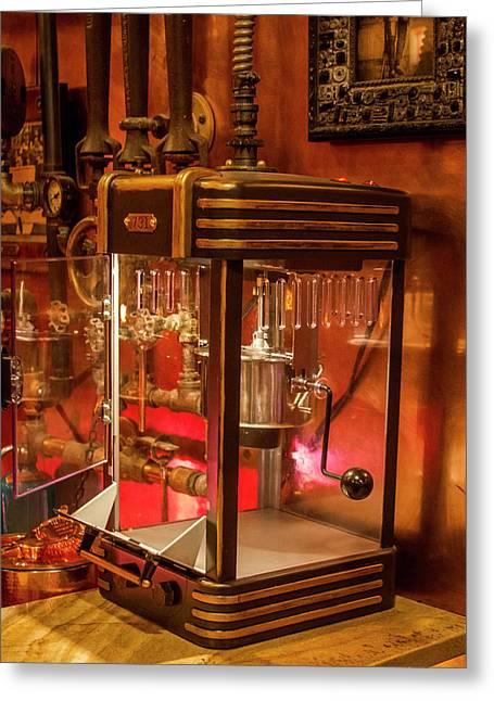 Steampunk Interior Design Popcorn Machine Medieval Barart Greeting Card