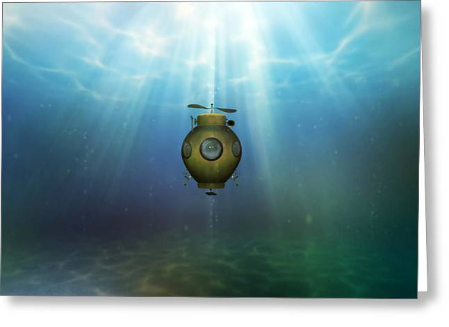 Steampunk Submarine Greeting Card by Valerie Anne Kelly