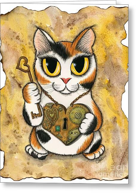 Steampunk Valentine Cat Greeting Card