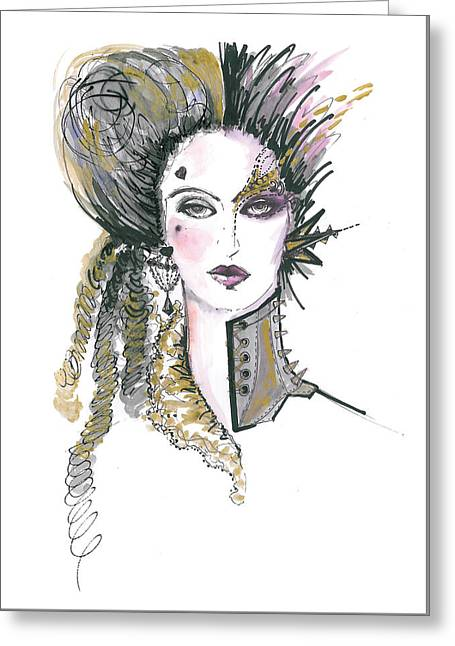 Steampunk Watercolor Fashion Illustration Greeting Card by Marian Voicu