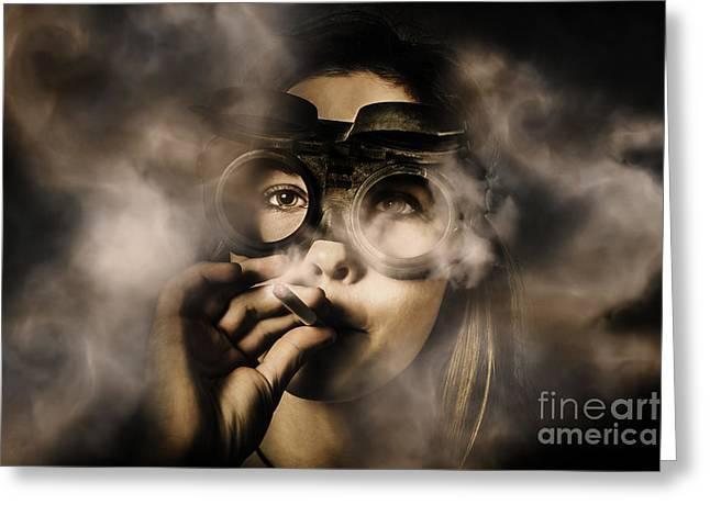 Steampunk Welder Smoking Cigarette Greeting Card by Jorgo Photography - Wall Art Gallery