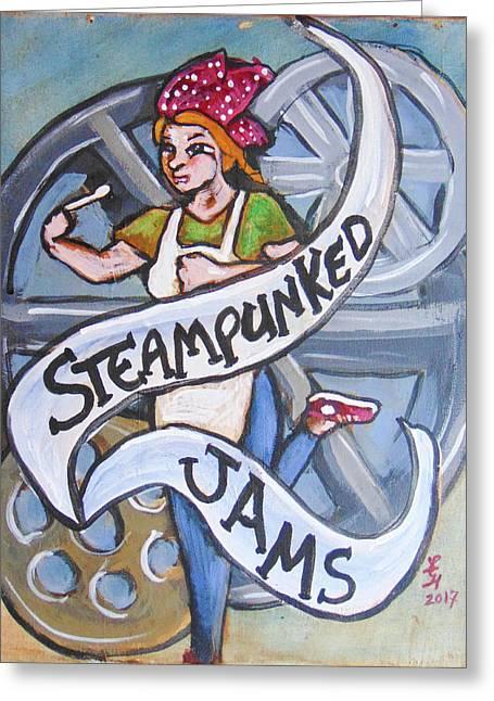 Steampunked Jams Greeting Card by Loretta Nash