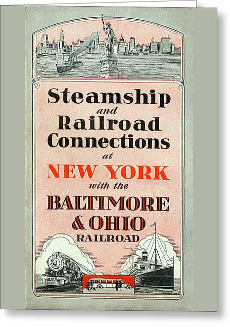 Steamship And Railroad Connections At New York Greeting Card