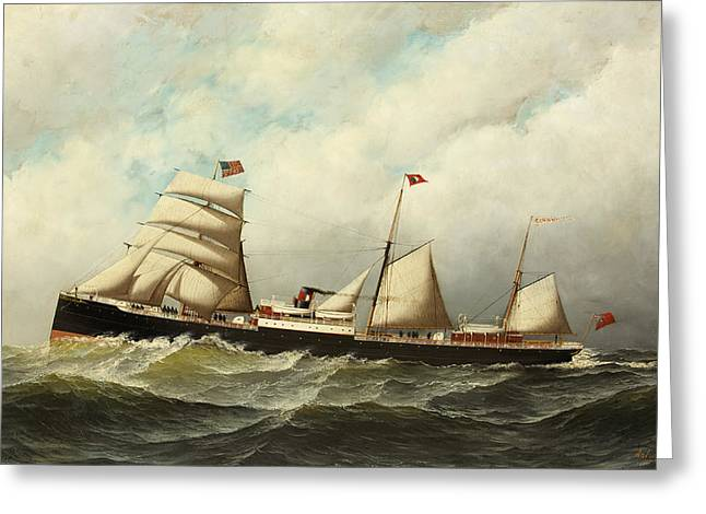 Steamship   Cornwall Greeting Card by Antonio Jacobsen