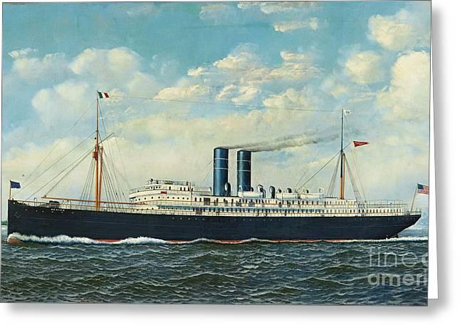 Steamship Merida In New York Harbor Greeting Card