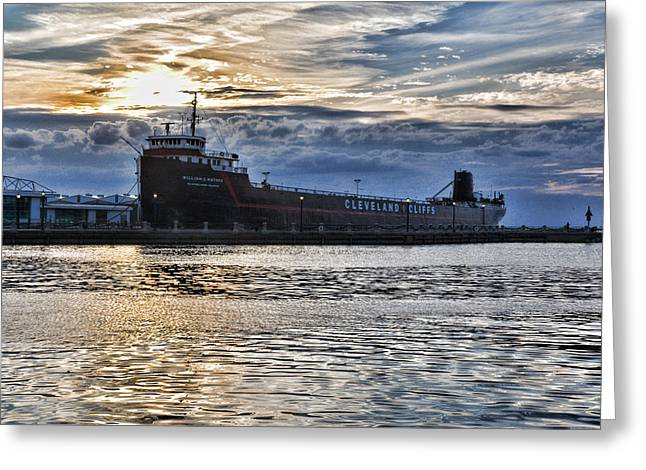 Greeting Card featuring the photograph Steamship William G. Mather - 1 by Mark Madere