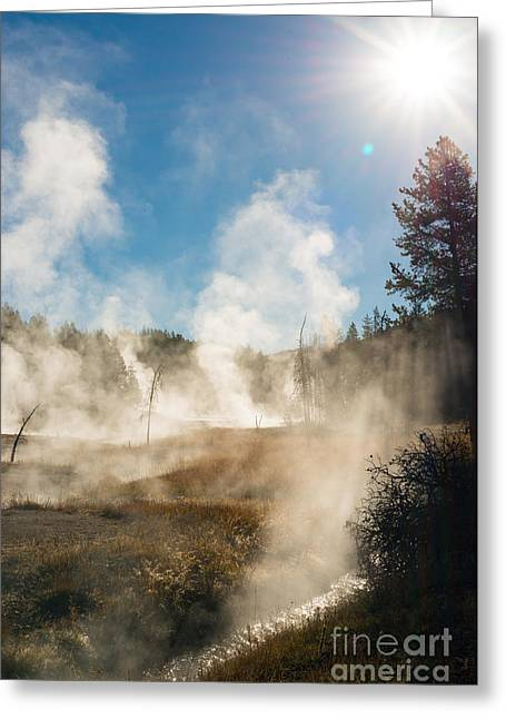 Steamy Sunrise Greeting Card by Birches Photography
