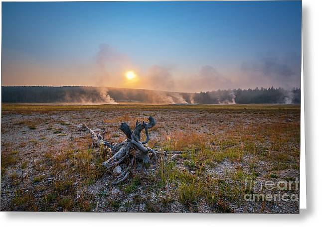 Steamy Sunrise In Yellowstone Greeting Card
