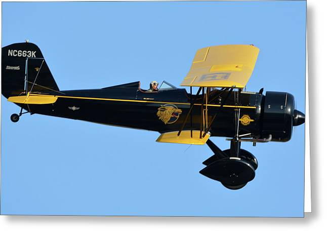 Stearman 4e Junior Speedmail Nc663k Chino California April 29 2016 Greeting Card by Brian Lockett