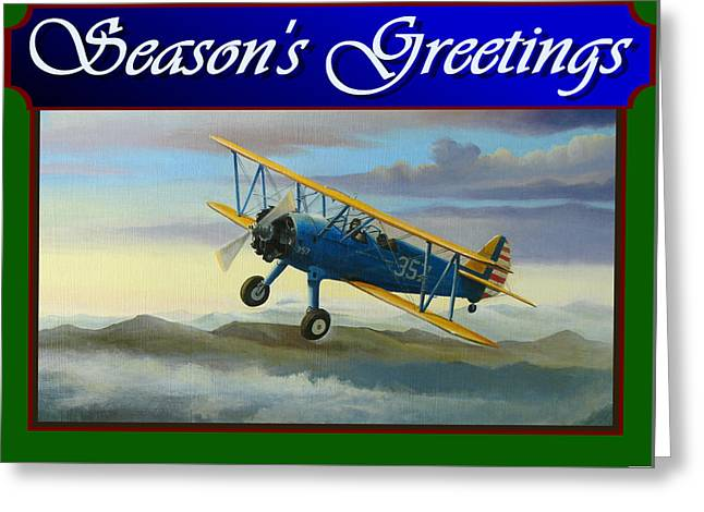 Stearman Christmas Card Greeting Card by Stuart Swartz