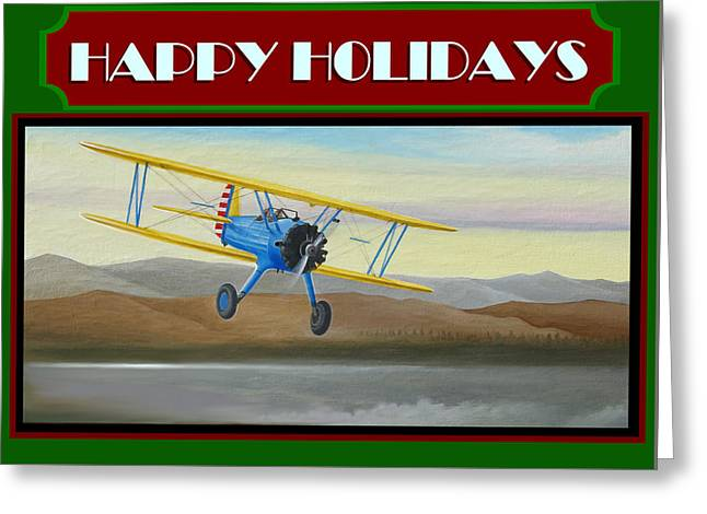 Stearman Morning Flight Christmas Card Greeting Card by Stuart Swartz