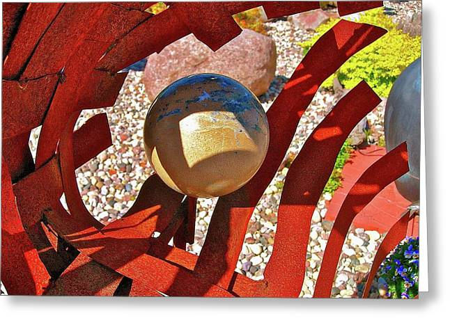 Steel And Shadows Greeting Card by Randy Rosenberger