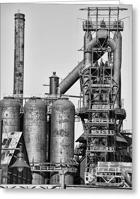 Chuck Kuhn Greeting Cards - Steel Blast Furnace BW Greeting Card by Chuck Kuhn