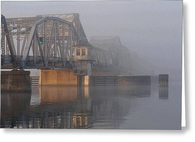 Steel Bridge In Fog Greeting Card