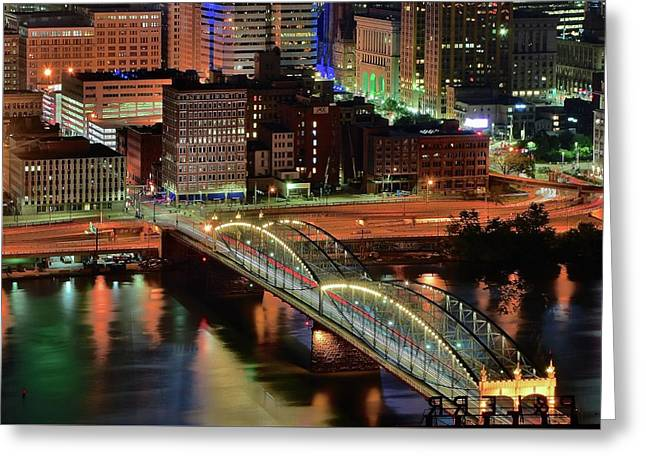 Steel City Bridge And Lights Greeting Card