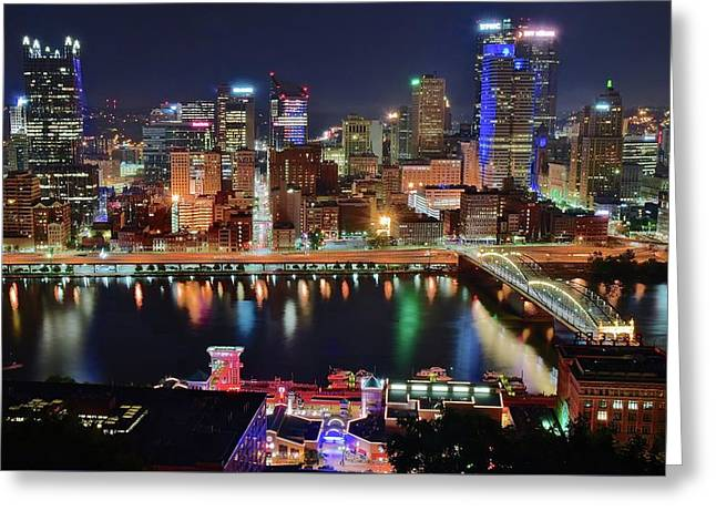 Steel City Nightscape Greeting Card