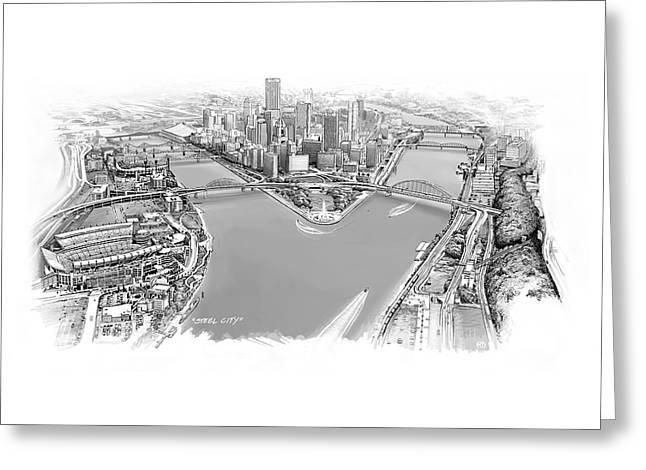 Steel City Greeting Card by Robin DaSilva
