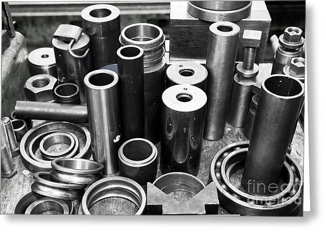 Steel Cylinders Pistons And Tools In Workshop Greeting Card by Michal Bednarek