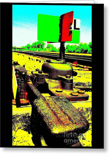 Steel Diesel Track Signal Greeting Card by Peter Gumaer Ogden