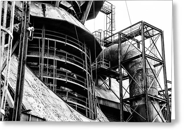 Steel Mill In Black And White - Bethlehem Greeting Card by Bill Cannon