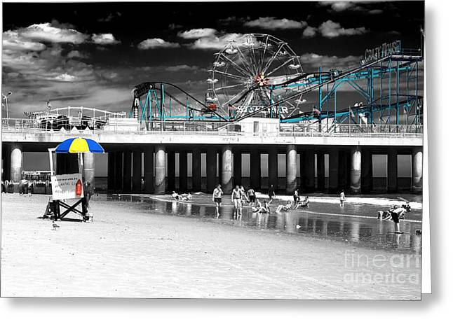 Steel Pier Fusion Greeting Card by John Rizzuto