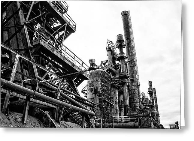 Steel Plant - Bethlehem Pa In Black And White Greeting Card