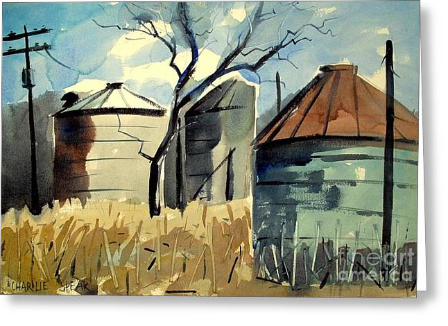 Greeting Card featuring the painting Steel Silos In A Field Matted Glassed Framed by Charlie Spear