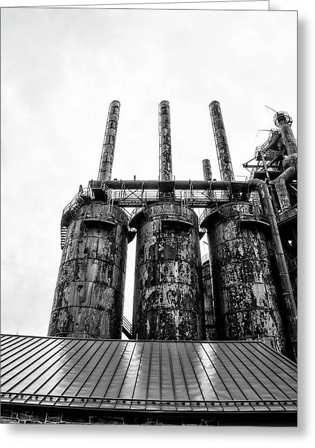 Steel Stacks - The Bethehem Steel Mill In Black And White Greeting Card by Bill Cannon
