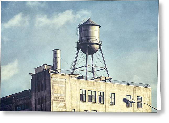 Greeting Card featuring the photograph Steel Water Tower, Brooklyn New York by Gary Heller