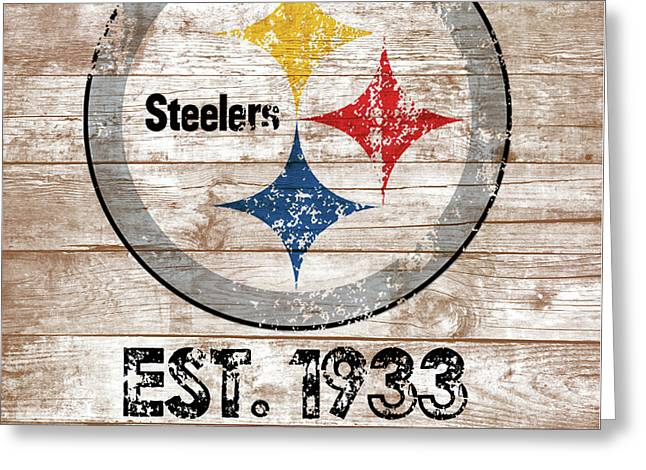 Steelers Distressed Wood Planks Greeting Card