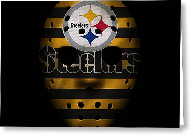 Steelers War Mask 2 Greeting Card by Joe Hamilton