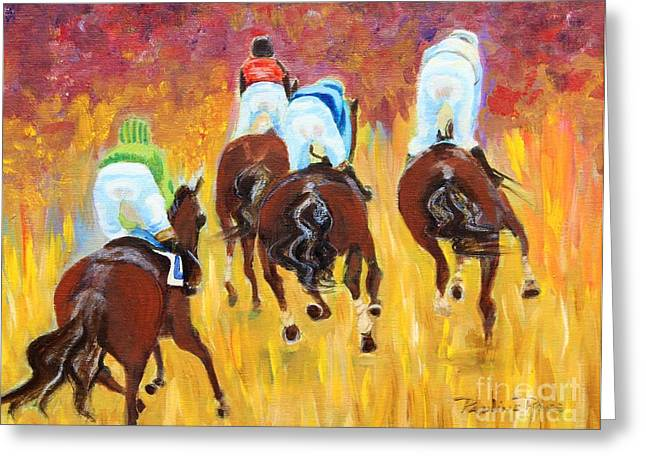 Steeple Chase Greeting Card by Pauline Ross