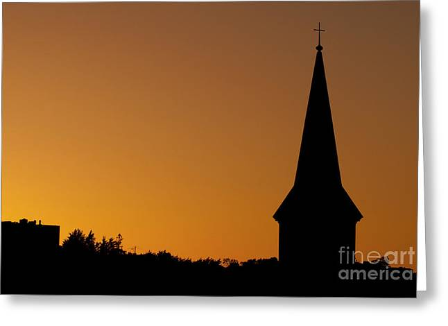 Steeple Sunset Greeting Card by Patrick Power