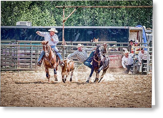 Greeting Card featuring the photograph Steer Wrestling With An Audience by Darcy Michaelchuk