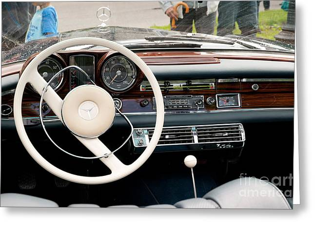 Steering Wheel In Old Mercedes Greeting Card