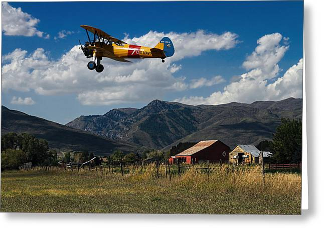Steerman Bi-plane Greeting Card by Nick Gray