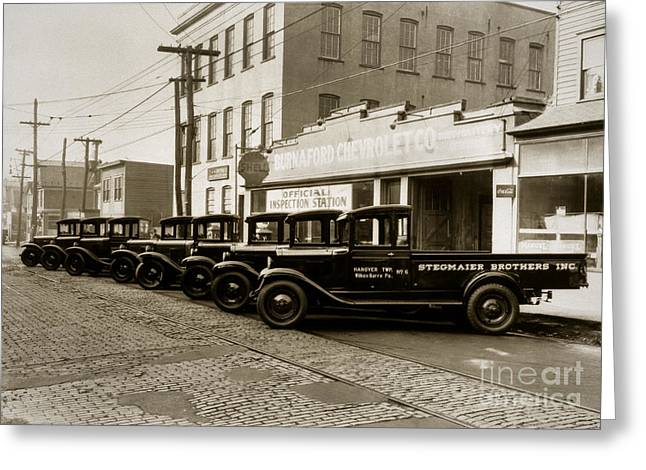 Stegmaier Brothers Inc Beer Trucks At 693 Hazle Ave Wilkes Barre Pa 1930s Greeting Card