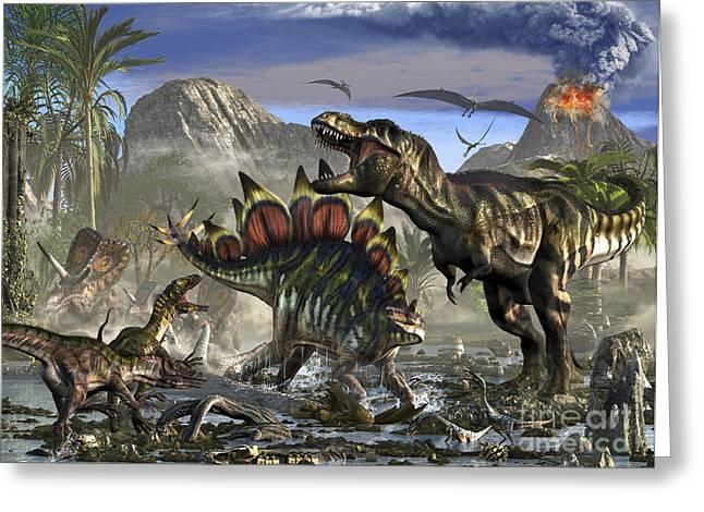 Stegosaurus Defending Himself Greeting Card by Kurt Miller