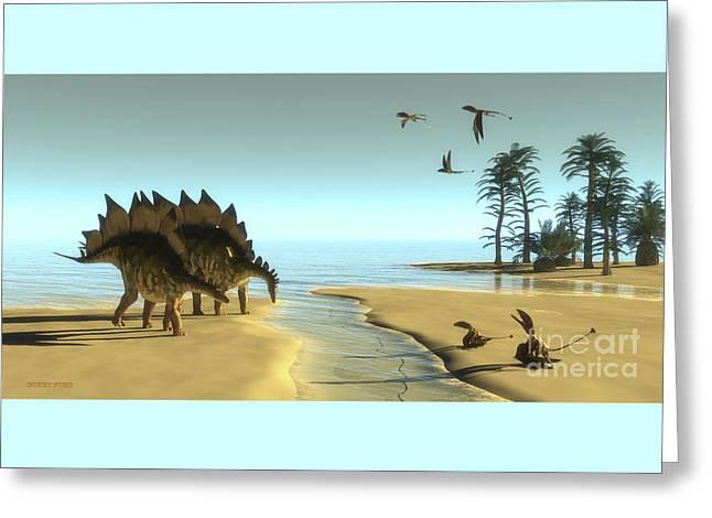 Stegosaurus Dinosaur Morning Greeting Card